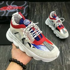 This is the latest style of ! Versace Loafers, Versace Sneakers, Versace Shoes, Versace Men, Sneakers Fashion, Fashion Shoes, Diy Fashion, New Shoes, Slip On Shoes