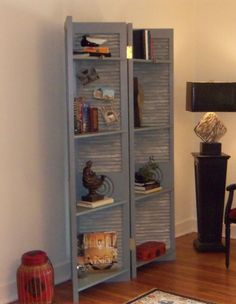 LOUVERED DOORS DISGUISED AS A SCREEN/SHELVING UNIT Shabby Chic Home Decor Project Idea Project Difficulty: Simple MaritmeVintage.com