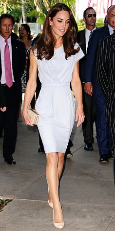 July 8, 2011  Catherine Middleton set foot on U.S. soil for the first time wearing a powder blue frock by Roksanda Ilincic. She teamed the look with a straw L.K. Bennett clutch and diamond and white topaz earrings by Kiki McDonough.