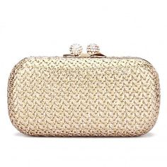 Yoins Knotting Clutch Bag ($27) ❤ liked on Polyvore featuring bags, handbags, clutches, beige, hand bags, rhinestone handbags, beige handbags, rhinestone clutches and chain purse