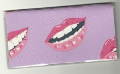 """Big Lips Smooch Kiss on Purple Checkbook Cover . $5.00. The sturdy clear VINYL COVER encases a fabric bonded design. Measuring 6 1/4"""" x 3 1/4"""",  the cover fits all standard bank checkbooks.  All checkbook covers come with a register flap and a duplicate check flap  just like the bank, only flashier. Smooch Kiss, Big Lips, Checkbook Cover, Vinyl Cover, Women Accessories, Purple, Fabric, Clothing, Viola"""