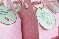 Cute pink polka dot gable boxes used for party favors at a Pink, Mint, & Gold Unicorn Party with Lots of Really Great Ideas via Kara's Party Ideas KarasPartyIdeas.com #UnicornParty #GirlParty #PartyIdeas #FavorBoxes