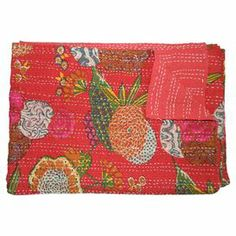 "Inspired by traditional kantha cloth fabrics, this cotton throw showcases a bold floral motif—perfect for adding a touch of bright style to your sofa or bed.      Product: ThrowConstruction Material: CottonColor: Red Dimensions: 60"" x 80"""