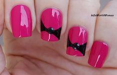 #Black & #Pink #Bow #Nailart