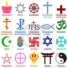 Religious symbolism is an iconic way to represent a specific religion or specific concept in a religion. They are designed to be easily recognisable for that religion Occult Symbols, Spiritual Symbols, Ancient Symbols, All Religious Symbols, Peace Symbols, Religions Du Monde, World Religions, Ideas Para Logos, Symbole Protection