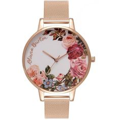 Olivia Burton English Garden Mesh Watch - Rose Gold (1.709.885 IDR) ❤ liked on Polyvore featuring jewelry, watches, rose gold, flower jewellery, flower watches, mesh watches, red gold watches and mesh strap watches