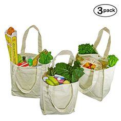 Reuseable grocery bags - 100% cotton (NO PLASTIC! NO POLYESTER! NO NYLON!)