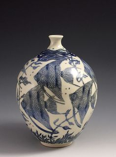 Ceramics by Tiffany Scull at Studiopottery.co.uk - 2013. Angel fish & weed vase 17cm high
