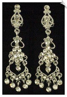 Vintage style sterling silver chandelier clip on earrings accented clip on earrings chandelier 28 whimzgirlclipearrings aloadofball Gallery