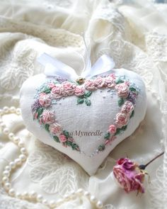 First of two flower hearts is finished .Second one will be with Hardanger embroidery Перше квіточкове сердечко готовеДруге буде з вишивкою Хардангер