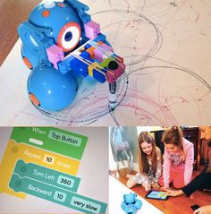 Coding projects for kids: Using LEGO bricks, a rubberband and a crayon, program Dash to color