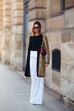 Daytime glam: Sofie Parra in a gold embellished jacket | StockholmStreetStyle