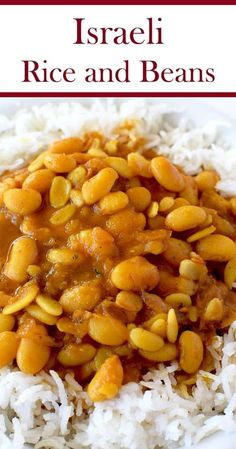 Israeli rice and beans is an easy and healthy recipe. It is perfect as a side dish or a vegan main dish. Side Dish Recipes, Veggie Recipes, Vegetarian Recipes, Healthy Recipes, Vegan Bean Recipes, Navy Beans Recipe Vegetarian, Recipes Dinner, Vegan Vegetarian, Dessert Recipes