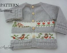 Pattern baby cardigan.Cardigan with embroidery .knitted baby clothes.PCOO2