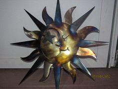 Aztec Sun / Moon, metal art, 2 piece, clear finish powder coat with custom heat application on Etsy, $59.99