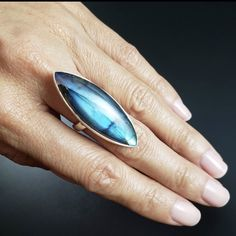 Wear this crystal for aura protection and chakra balancing. Crystal Fashion, Chakra Balancing, Labradorite Ring, Blue Rings, Electric Blue, Statement Rings, Boho Jewelry, Surfboard, Inspired
