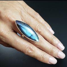 Wear this crystal for aura protection and chakra balancing. Crystal Fashion, Labradorite Ring, Chakra Balancing, Electric Blue, Surfboard, Gemstone Rings, Sterling Silver, Inspired, Crystals