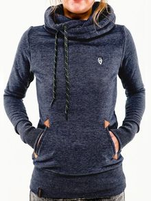 d1ba30db991 Blue Hooded Long Sleeve Pockets Sweatshirt Winter Workout Clothes