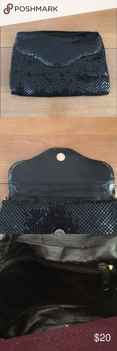 🆕LISTING- Vintage Black Mesh Evening Bag Minor wear as pictured. Chain strap to wear in shoulder has come unattached and msg be able to be reattached but I'm not sure. Can still be used as clutch though! Vintage Bags Clutches & Wristlets