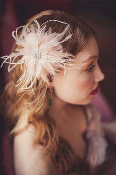 Blush Bridal Feather Hair Clip - Request Custom Colors.