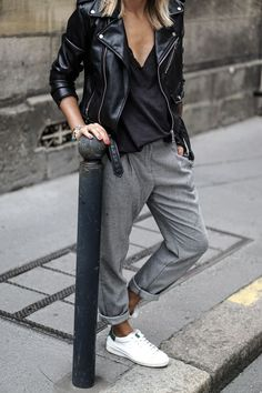 Biker jacket + grey joggers + sneakers