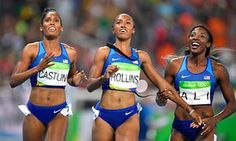 Brianna Rollins won ahead of her compatriots, second placed Nia Ali, right and Kristi Castlin, left.