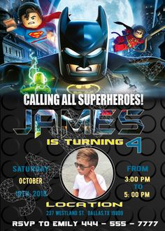 lego batman birthday invitations - Custom printing invitations Welcome to Best Birthday Party This is a s Lego Batman Movie Birthday invitation will be a perfect addition to celebrate your Lego Batman Invitations, Spiderman Birthday Invitations, Lego Batman Birthday, Lego Batman Party, Paw Patrol Birthday Invitations, Superhero Birthday Party, Printable Birthday Invitations, Photo Invitations, Invitation Ideas