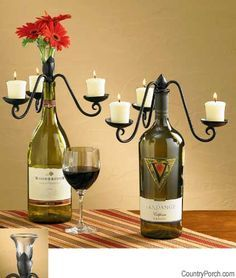 what to do with your empty wine bottles? well of course make a candelabra and/or flower vase