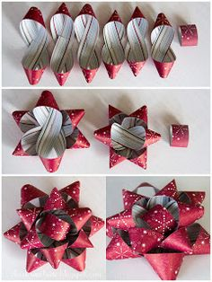"""Charlet's Website: Holiday paper bows - how to.  Cut paper - see template.  You will have three 1""""x12"""" strips, three 1""""x10"""" strips and one 1""""x5"""" strips.  Fold as shown in photo, you will make a figure 8. Staple each figure 8 in the center.  Adhere the three larger figure eights together, then adhere the three smaller eights together.  Assemble and adhere on top of each other and top off with center loop."""