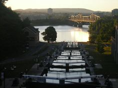 Sunset shot of the Rideau Canal Locks where it meets the Ottawa River, right next to the Parliament buildings.