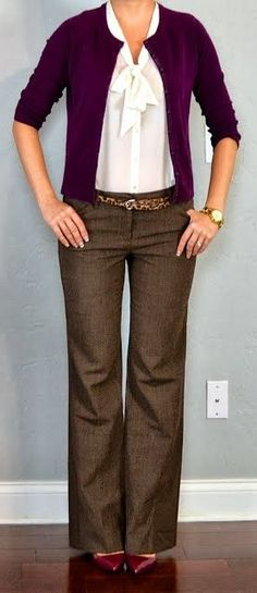 work outfit-purple w brown pants... Love the color of the cardigan, pants, belt and shoes... its just plain perfect!