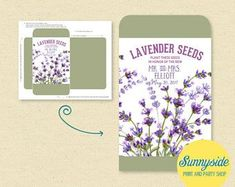Lavender#lavender Affordable Wedding Favours, Seed Wedding Favors, Lavender Seeds, Double Sided Sticky Tape, Rustic Gardens, Seed Packets, Party Shop, Wedding Day, Printable