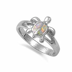 Silver White Opal Turtle Ring