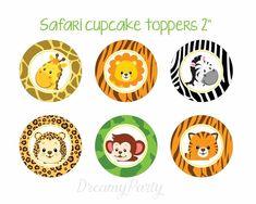 Safari cupcake toppers Safari baby shower por DreamyPartyPrintable Source by Safari Birthday Party, Jungle Party, Baby Birthday, Safari Party Decorations, Birthday Decorations, Cupcake Safari, Baby Cupcake, 2 Baby, Circle Crafts