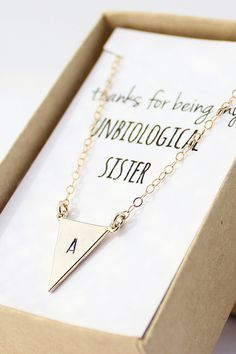 """Thanks for being my unbiological sister"" gold triangle initial necklace. You can pick any note you want for the box. Perfect personalized christmas gift."