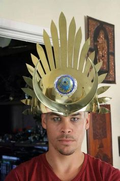 Luke Steele, in the solar/lunar crown with the 'jewel which was stolen' - part of their backstory about the journey of the Emperor and the Lord. Empire of the Sun