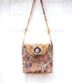 Rivers Run Field Service Book Bag by ZiBagz  shoulder bag . handmade diy purse . book bag . tattered rose