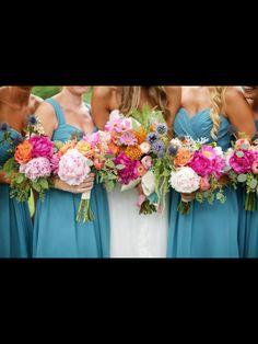 Pink/ Aqua/ Orange/ Lavender/ gold polka dots/peonies/ ranunculus/ roses/ fern/ Flowers- Keiley Caldwell Photography- Happy Everything Co. Athens Ga.