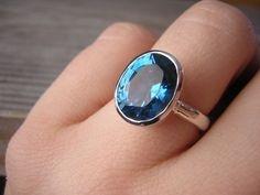 London Blue Topaz Sterling Silver Oval Rock by onegarnetgirl,