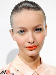 J.Crew Spring 2013 pastel green eyeliner and orange lips | allure.com