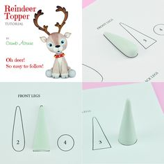 Easy-to-use TEMPLATES will be your SIZE and SHAPE guide! :) My Etsy Shop --> https://www.etsy.com/uk/listing/475398790/christmas-reindeer-cake-topper-pdf