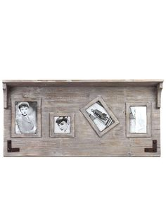 Wooden Top Shelf Photo Frame Wall Decor -  This elegant item features a top shelf perfect for storing flowers, vases, books and other ancillary items. The body features three photo frames perfect for depicting your favorite moments. The wooden photo frame comes in a lovely white and brown shade that will add texture and uniqueness to your home.