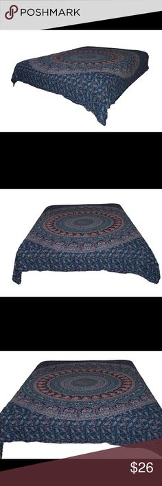 "Queen Hippie Blue Peacock Mandala Tapestry Decor * We offer the best world-class mandala/tapestry that is the biggest in size(California King size) and the lowest in price without sacrificing the quality.  * Unique design, elegant and eye-catching. * 100% Cotton fabric - smooth feel yet strong and durable. * Hand-blocks printed design. * Shape : Rectangle. Size : 95""x85"" (241.3 cm x 215.9 cm) * Weight : ~750gm. * Tumble wash or hand dry only. * Cotton fabric may shrink by few cms. * Package…"