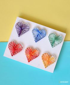 Add a fun and colorful piece to your decor with this pretty heart string art DIY. It's a simple and fun way to add lots of interest to any space! Craft Projects For Kids, Easy Crafts For Kids, Crafts To Make, Diy Crafts, Craft Ideas, String Art Diy, String Art Tutorials, Foam Crafts, Fabric Crafts