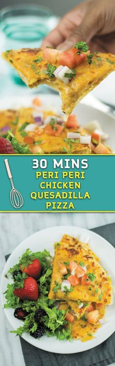 Just 30 mins, cheesy PERI PERI sauce CHICKEN quesadilla turned into pizza! Best dinner after a long day!