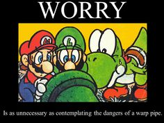 """Yoshi and Mario both look all concerned and then Luigi's like """"I just got a text message""""."""