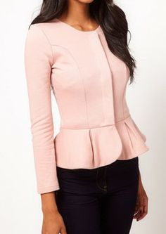 Light Pink Round Neck Long Sleeve Ruffles Crop Coat