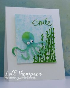 Today I'm sharing a fun card using this adorable octopus die that I just received from a sweet friend! Beach Cards, Kids Cards, Creative Cards, Beach Themes, Smile, Paper, Stamping, Card Ideas, Nautical