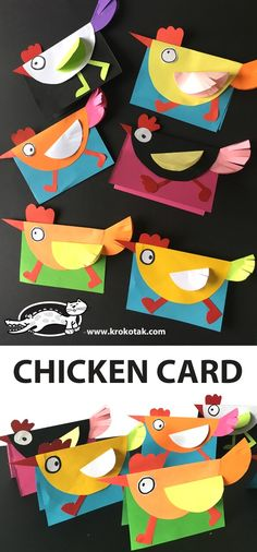 CHICKEN CARD for our farm theme. I'm going to write articulation or vocabulary words inside Easter Art, Easter Crafts For Kids, Diy For Kids, Easter Activities, Preschool Activities, Children Activities, Creative Activities, Chicken Crafts, Animal Crafts