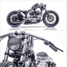 1998 H-D Sportster by Young Guns Speed Shop. (Via Pipeburn). via megadeluxe Custom Bike Helmets, Custom Bobber, Custom Motorcycles, Harley Motorcycles, Custom Bikes, Triumph Bobber, Harley Bobber, Bobber Chopper, Harley Davidson History